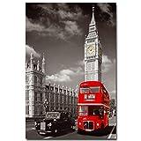 549 Placa retro con diseño de autobús de Londres con Big Ben City Landscape para letrero de estaño en la calle, garaje, familia, cafetería, bar, baño, puerta, decoración de pared de 20,3 x 30,5 cm