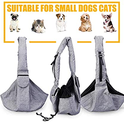 Musonic Pet Carrier, Hand Free Sling for Small Dog Cat Adjustable Cotton Padded Strap Outdoor Travel Shoulder Bag Tote Bag Safety Net Front Zipper Pocket Breathable Oxford Fabric Under 13 LBS Dogs 2