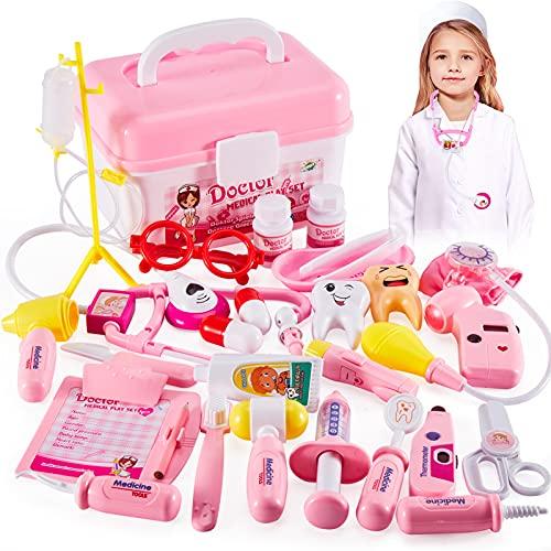 HERSITY Déguisement de Docteur Kit avec Lumières et Son Medecin Jouet Jeu d'imitation Mallette de Docteur Cadeau pour Enfant 3 Ans+