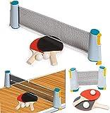 Trading Innovation Retráctil Mesa Tenis Portátil Juego con/Ping Pong Bola, Raqueta, Telescópico Red Accesorios Interior/Exterior Sports Engranaje