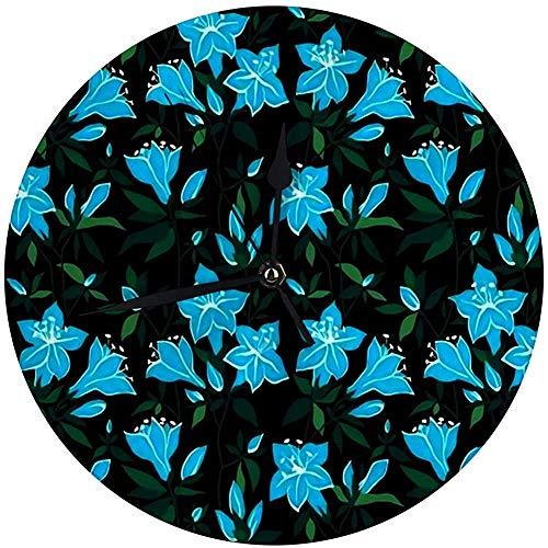 Decoratieve wandklok Big 9,8 inch Magic Floral Blue bloemen op zwarte azalea digitale ronde klok