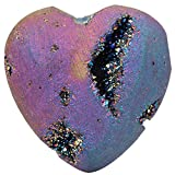 rockcloud Heart Shape Titanium Coated Agate Geode Druzy Home Decoration Pocket Stones Specimen, Rainbow