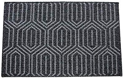 Monland 50X80cm Indoor Door Mat,Welcome Mats Non-Slip Absorbent Floor Mats Machine Washable Entry Rug Entrance Carpet-Dark Grey