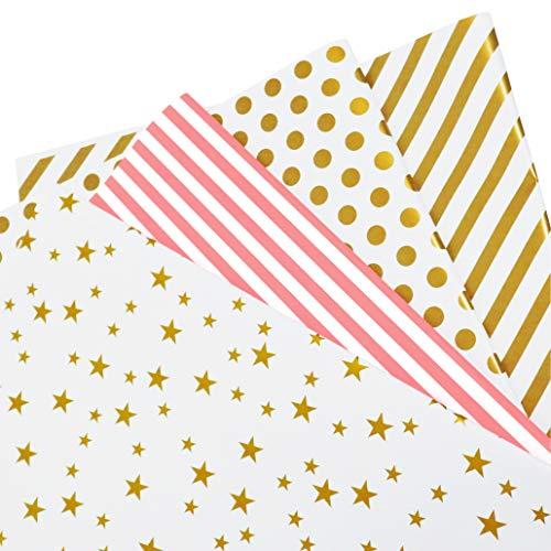 Papel Para Envolver Regalos -Taicse 4 Hojas Envoltura Colorido (Doblados) Para Cumpleaños, Día De Fiesta, Boda, Baby Shower, Christmas para Niños Hombre Mujer de Regalos (4Diseño, 70 x 50cm)