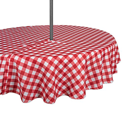 DII 100% Polyester, Spill Proof, Machine Washable, Zipper Tablecloth for Outdoor Use with Umbrella Covered Tables, 60' Round, Red Check, Seats 4 People, w