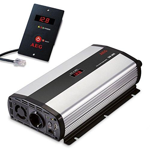 AEG 97120 Sinus-Convertidor de voltaje SW 600 Watios, 12 Voltios sobre 230 Voltios, con pantalla LCD, cargador USB, módulo de control remoto y función de control de batería