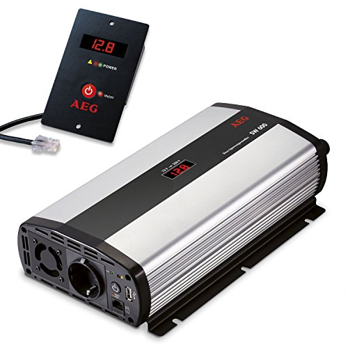 AEG 97120 Sinus-Spannungswandler SW 600 Watt, 12 Volt auf 230 Volt, Fernsteuerungsmodul und Batteriewächterfunktion