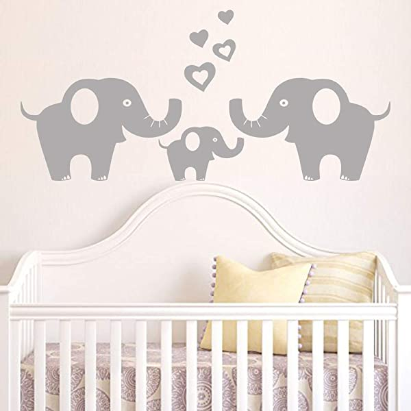 Elephant Family Wall Decal Removable Vinyl Wall Art With Hearts Music Quote Art Baby Nursery Wall Decor