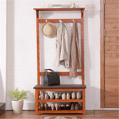 Feixunfan Clothes Garment Rack Coat Rack Floor Simple Modern Hanger Shoe Cabinet Coat Rack Combination Household Clothes Rack for Bedroom Entrance (Color : Brown, Size : 170x37x82cm)