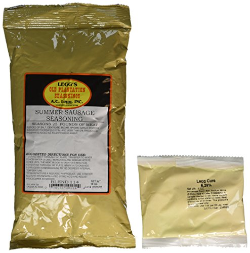 A.C. Legg - Summer Sausage Seasoning for 50 Pounds of Meat (2 Pack. - 18 Ounce each) Use on Venison, Beef, Elk, Wild Hog and More. - with Cure