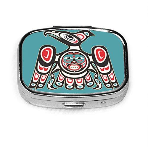 Haida Adler Indianer Thunderbird Vogel Tribal Muster Indianische Pillendose Dekorative Boxen Tablet-Halter Brieftasche Organizer für Tasche oder Geldbörse