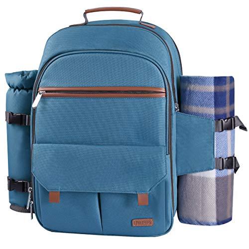 Sunflora Picknickrucksack 4 Personen Picknickset mit Isoliertem Kühlfach und Decke für Camping Outdoor (Hellblau)