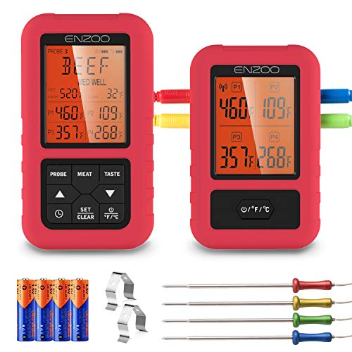 ENZOO Wireless Meat Thermometer for Grilling, Accurate & Fast Digital Meat Thermometer with 4...