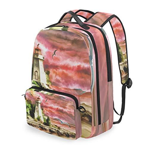 MALPLENA - Bolsa de viaje para el colegio, diseño de faro y mar