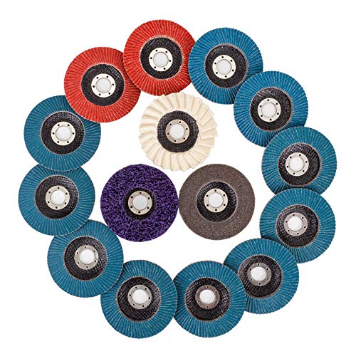 15 PCS Flap Discs & Grinding Polishing Discs Set, with 4.5' x 7/8' 40/60/80/120 Assorted Grits Flap Sanding Disc Strip Disc Nylon Polishing Disc and Felt Polishing Flap Disc for Angle Grinder