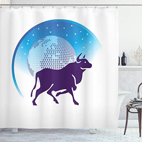 ABAKUHAUS Sternzeichen Stier Duschvorhang, Globus Sterne Stier, mit 12 Ringe Set Wasserdicht Stielvoll Modern Farbfest und Schimmel Resistent, 175x180 cm, Dunkel Violett Weiß und Blau