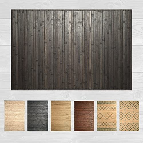 LucaHome – Alfombra bambú Uganda Ideal para Interior o Exterior, Alfombra bambú para Cocina, salón, despacho, Dormitorio con Cenefa, Alfombra de bambú Antideslizante (Dark Grey, 60x90cm)