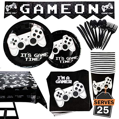 Great Features Of 177 Piece Video Gaming Party Supplies Set Including Banner, Plates, Cups, Napkins,...