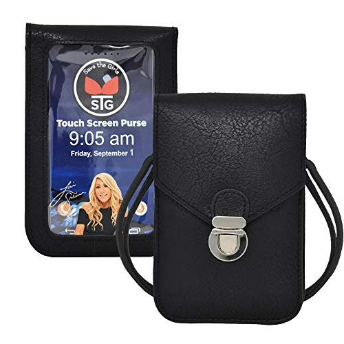 Touch Screen Purse by Lori Greiner Fits Most Smartphones – Stylish Crossbody with Shoulder Strap -RFID Keeps Cash, Credit Cards, Phone Screens Safe- Black
