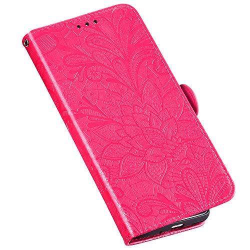 QPOLLY Kompatibel für Samsung Galaxy Note 10 Pro Hülle Leder Tasche Flip Case Spitzeblume Muster Handytasche Magnet Schutzhülle im Brieftasche-Stil mit Kartenfächer Standfunktion,Rose rot