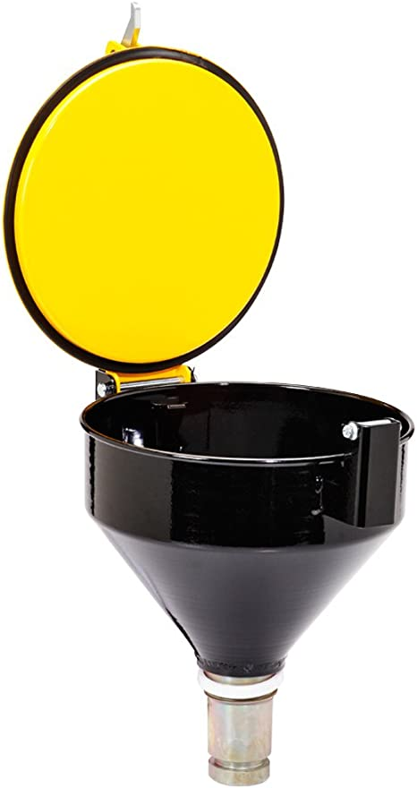 New Pig Burpless Steel Drum Funnel for 5 to 55-Gallon Steel or Poly Drums with 2 NPT Yellow One Hand Sealable DRM1125-YW-NPT 15 x 11 x 13