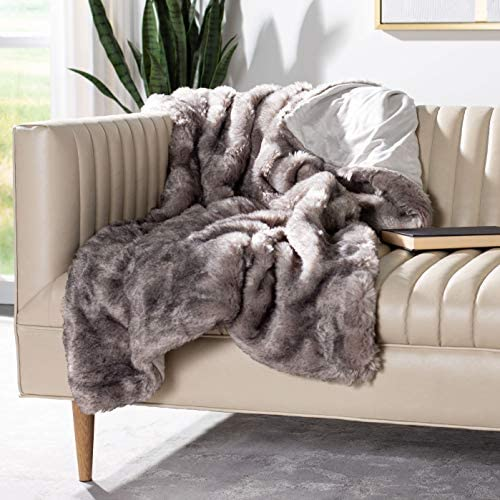Safavieh Faux Chinchilla Throw Blanket Grey product image