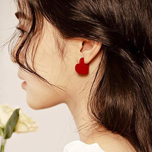 Erin Earring Lady Retro Simple Petit Amour Coeur Vert Jaune Boucles D'Oreilles Bijoux De Mode Rouge Coeur Boucles D'Oreilles