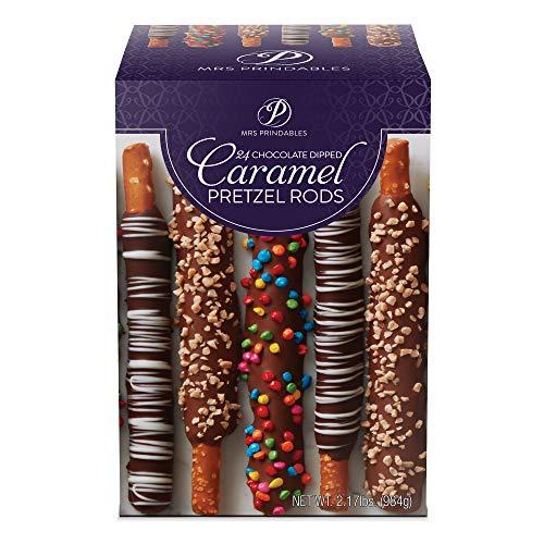 Mrs Prindables Set of 24 Chocolate Dipped Caramel Pretzel Rods