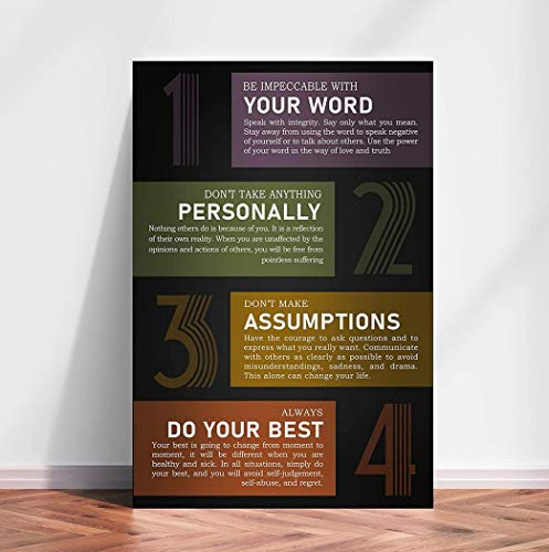Mental Health Therapy Canvas, The Four Agreements Horizontal Canvas Art Canvas 0.75 Inch Print Size 8x12, 12x18, 16x24, 24x36 Inches
