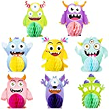 MALLMALL6 8Pcs Monster Honeycomb Centerpieces Party Table Decorations Monsters Themed Birthday Party Supplies Double Sided Table Topper Baby Shower Party Favors Photo Booth Props Room Decor for Kids
