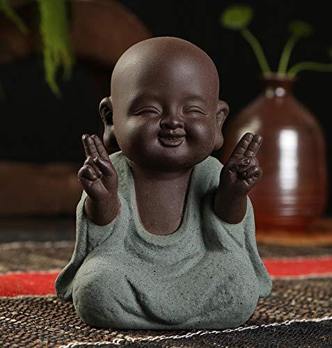 Ceramic Little Cute Buddha Statue Monk Figurine Creative Crafts Dolls Ornaments Gift Chinese Delicate Ceramic Arts and Crafts(2.7x3.5inch 1