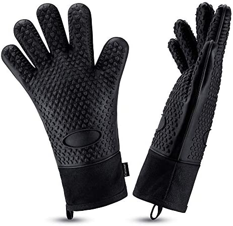 Oven Gloves Heat Resistant Cooking Gloves Silicone Grilling Gloves Long Waterproof BBQ Kitchen product image