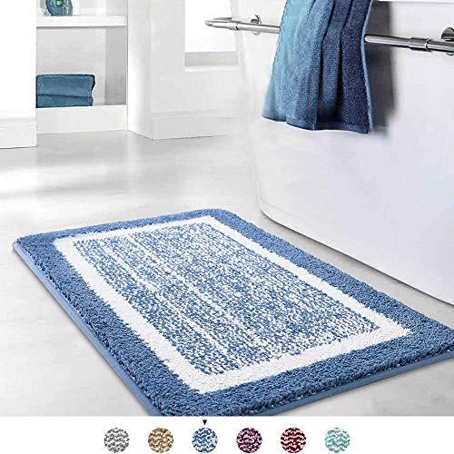Color&Geometry Badematte, rutschfeste Badteppich, Badezimmerteppich Weicher Badvorleger Maschinenwaschbar, Mikrofaser Absorbent Teppich für Badezimmer (60x110 cm, Blau)