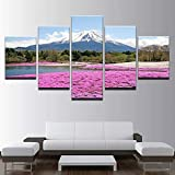 AWER Lienzos Cuadros Impresos Fuji Snow Mountain Pink Flowers Artística Imagen Gráfica Wall Art Panel Cuadros Modernos Decorativo para Tu Salón o Dormitorio 5 Piezas 150x80cm