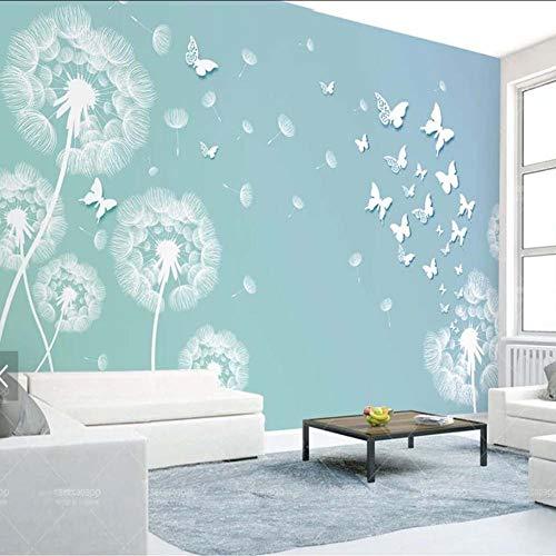 Cczxfcc 3D paardenbloem vlinder Mural Fotobehang voor woonkamer TV achterwand Decorer Elke grootte Landschap muur papieren rol 300 cm x 210 cm.