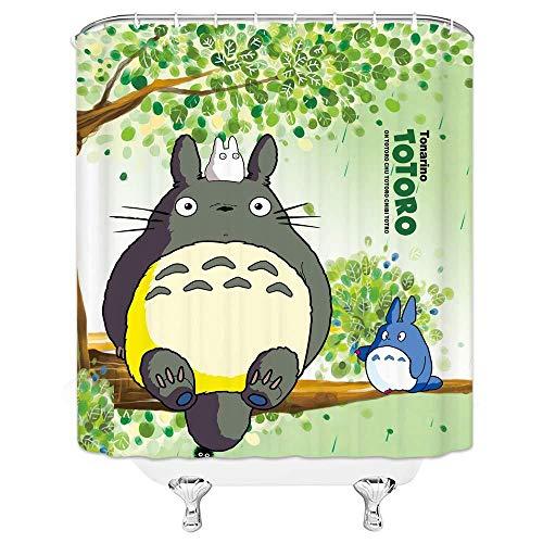 N / A Cartoon Niedlich Mein Nachbar Totoro Duschvorhang Totoro Sitzen Auf Grünen Bäumen Badezimmer Vorhang-B180xH240cm