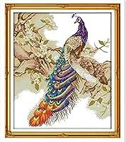 クロスステッチキットは、初心者のための刺繡スターターキットのフルレンジを刻印しましたピーコックDIY11CT印刷済みパターンニードルポイントキットクラフトニードルワークギフト-16x20インチ