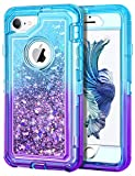 JAKPAK iPhone 6 Case, iPhone 6S Case Shockproof Glitter Flowing Liquid Bling Sparkle Cover for Girl Woman Heavy Duty Full Body Protective Shell for iPhone 6S iPhone 6 4.7 inches Teal Purple