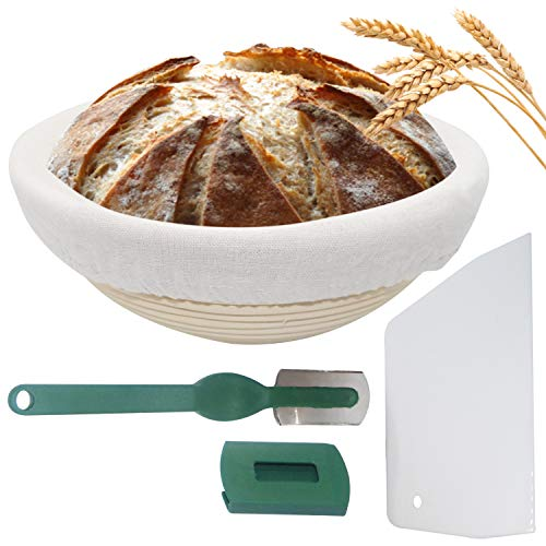 Bread Proofing Basket – 9inch Proofing Banneton Basket Baking Bowl Dough Gifts for Bakers for Sourdough – Rising Bowl with Dough Scraper Lame and Linen Cloth Liner tools