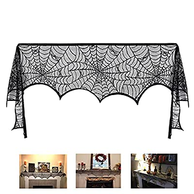 Halloween Decoration Black Lace Spiderweb Fireplace Mantle Scarf Cover Festive Party Supplies 45 X 248cm 18 x 98 inch (Black Lace Spiderweb Fireplace Cover) from CACCO-2021