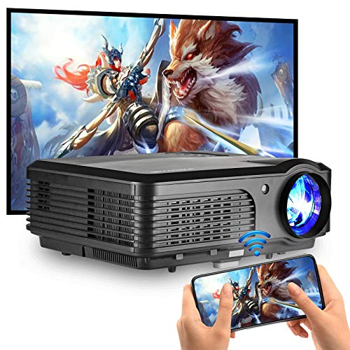 """WiFi Projector for Home Theater, HD 1080P and 200"""" Display Supported, 4600 Lumen Movie Projector with Bluetooth, Compatible with TV Stick, DVD Player, PS4, iOS, Android, Wireless Projector for Outdoor"""