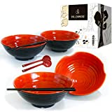 4 XL bowl set, 12 Pieces Ramen Bowl Set, Asian Japanese soup with Spoons and Chopsticks. Restaurant Quality Melamine, Large 51 oz for Noodles, Pho, Udon, Thai, Chinese dinnerware, 9 inch…