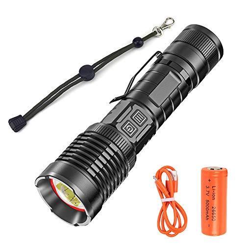 Linterna LED Recargable de 20000 Lumens, Linterna XHP90.2 de Alta Potencia con Batería de 5000mAh 26650, 5 Modos, Zoom Telescópico, Linterna Impermeable IP65 para Senderismo, Camping, Emergencia