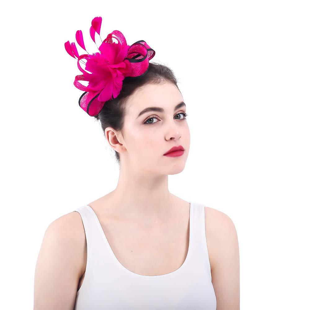違反する悲しいことに不正直女性の魅力的な帽子 女性のバラ赤魅惑的な帽子ブライダル羽ヘアクリップアクセサリーカクテルレースロイヤルアスコットピルボックス帽子