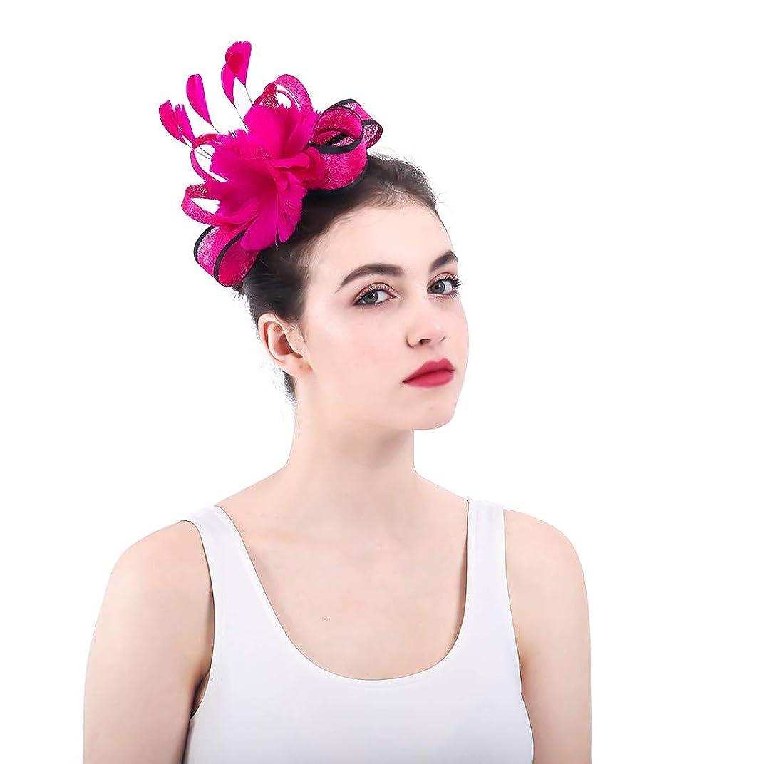 突破口酸屈辱する女性の魅力的な帽子 女性のバラ赤魅惑的な帽子ブライダル羽ヘアクリップアクセサリーカクテルレースロイヤルアスコットピルボックス帽子