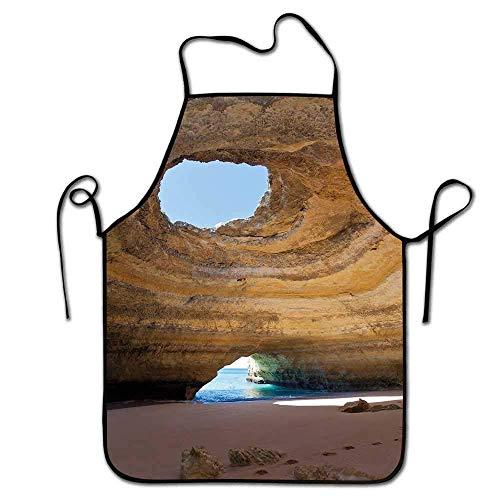 Not Applicable Höhlenschürze für Friseure Seehöhle von Benagil an der Algarve Portugal Idyllische Sandy Rocky Landscape Schürze Crafting Sand Brown Pale Blue Umber