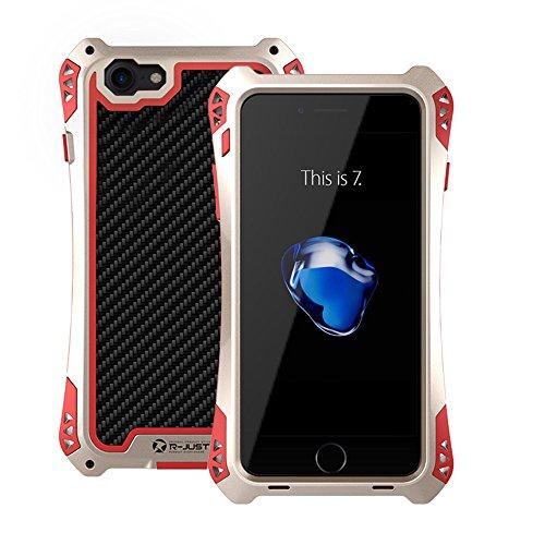 Carcasa para iPhone 7, a Prueba de Golpes, a Prueba de Golpes, a Prueba de Suciedad, Fibra de Carbono, aleación de magnesio, Metal, Cristal Gorilla, Resistente, Compatible con iPhone 7