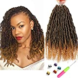 6 Packs Bomb Twist Crochet Hair 14 Inch Spring Twist Crochet Braids Pre-looped Mini Passion Twist Braiding Hair Senegalese Spring Twist Nubian Twist Kinky Curly Synthetic Hair Extensions (T27#)