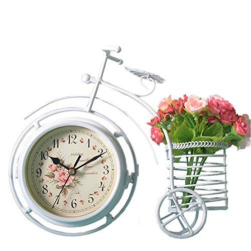S.W.H Pastoral Design Moderno Creativo de Doble Cara Triciclo Titular de la Pluma Digital Home Office Shop Decoración Mesa de Soporte Reloj de Navidad Regalos Blanco