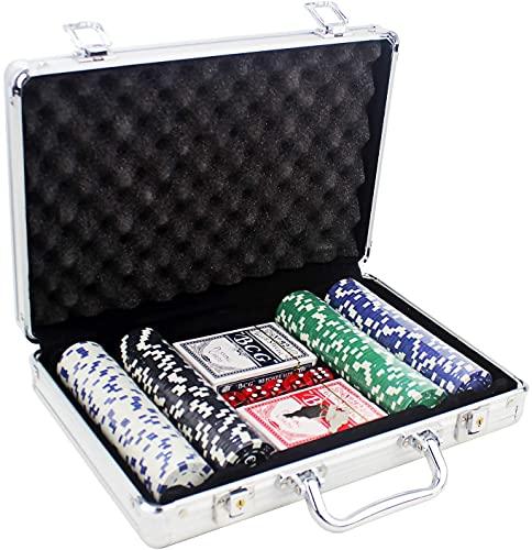 Set de Poker / Póquer, Texas Holdem, Blackjack Completo con Maletín de Aluminio, Juego de Fichas Plástico, Mini Casino Portátil, Accesorios de Baccarat, Juegos de Mesa y Entretenimiento. (200fichas)